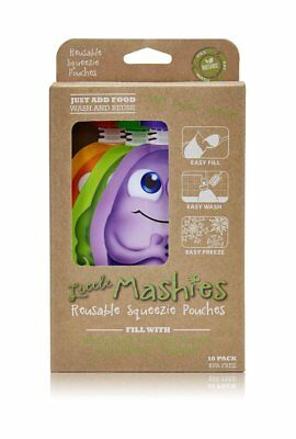 NEW Little Mashies Reusable Food Pouches 10pk (Mixed Colours)