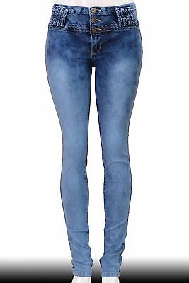 High Waist Stretch Push-Up Colombian Style Skinny Jeans in Acid Washed CY73