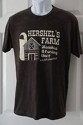 THE WALKING DEAD Hershel's Farm Zombie Storing Unit Graphic Tee T-Shirt Size M