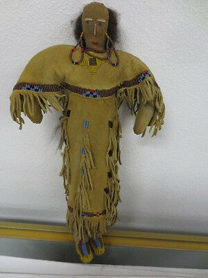 "14"" Sioux Indian Reservation Era Seed-Beaded Braintanned Leather Star Doll"