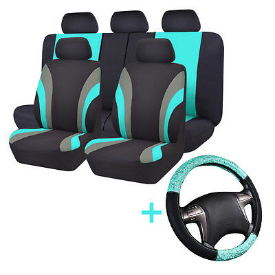 Universal Car Seat Covers Steering Wheel Covers Mint For Truck SUV Split rear