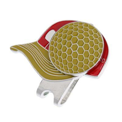 Yellow Magnetic Hat Clip with Golf Ball Marker - Suits Golf Cap or Visor
