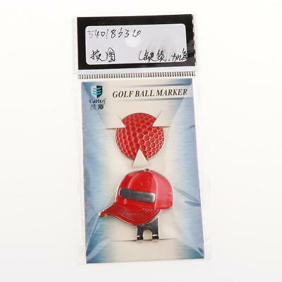 Red Magnetic Hat Clip with Golf Ball Marker - Suits Golf Cap or Visor