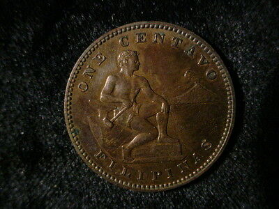 Philippines - 1905, One Centavos - Brown Unc - Some Red