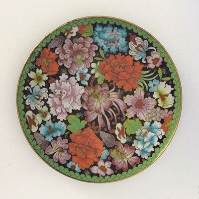 "Antique PALACE CLOISONNE Peony Chrysanthemum RARE COLOR PATTERN 8"" Asian Plate"