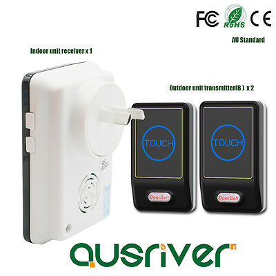 28 Chime 100M  Touch Activated Wireless Door Bell Chime Black Home Decor