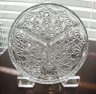 "Vintage Fenton Clear Glass Daisy & Button Divided 3-Part 7 1/2"" Relish Dish Tray"