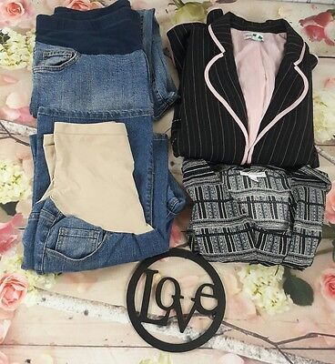 4 PCS Maternity Lot Work Business Clothes Pants Top Full Coverage Panel Large XL