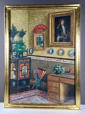 Antikes Aquarell watercolor Österreich Ungarn Interieur living room Interior 19c