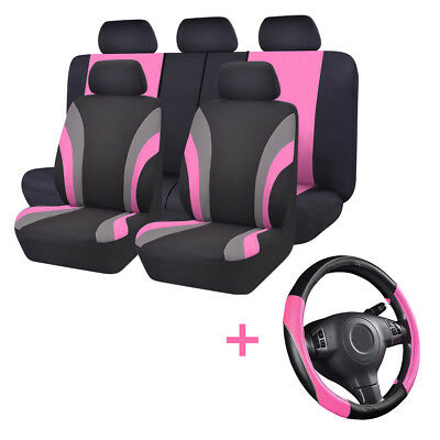 Universal Car Seat Covers Steering Wheel Cover Pink For Women Winter Airbag Fit