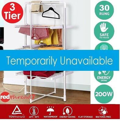 Electric Heated Clothes Rack Towel Rail Hanger Laundry Air Dryer 300W 3-Tier