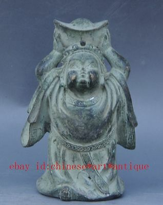 Chinese ancient bronze FengShui child children Hold YuanBao Wealth God Statue