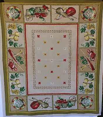Retro Vintage Tablecloth Cotton Fabric  Bright Fruit Wine Rectangular