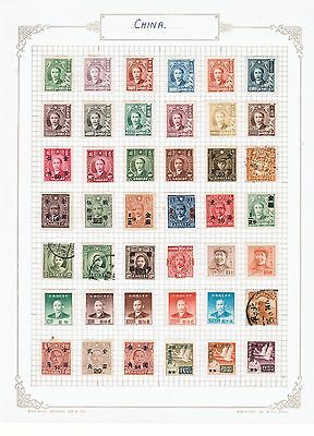 China selection of stamps on album page