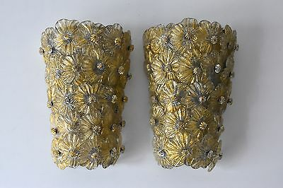 2x Barovier & Toso Murano Wandleuchten wall lamps flower glass sconces Italy