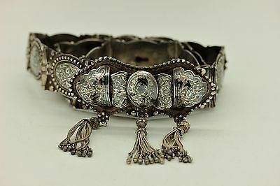 Antique Original Ottoman  Silver Niello Amazing Tugra Decorated Traditional Belt