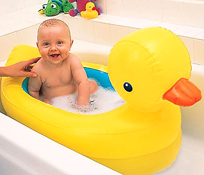 Inflatable Duck Tub Travel Pool Baby Bath Water Fun Munchkin Hot Safety Disc