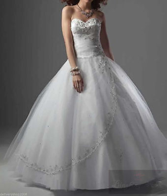 UK Stock Long Evening Formal Party Ball Gown Prom Wedding Bridesmaid Dress Sz 6