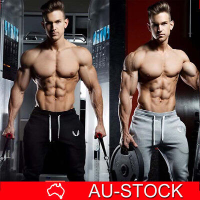 Mens Track Pants Gym Casual Trouser Bodybuilding Training Workout Jogger Sport