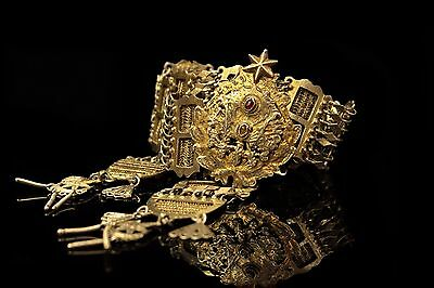Antique Original Perfect Handmade Ottoman Silver Gold Plated Islamic Belt