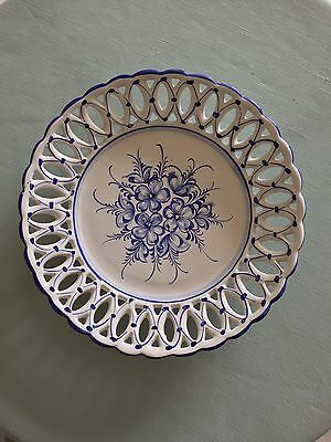 Portugal Signed Hand Painted Blue White Floral Art Pottery Ceramic Plate Dish