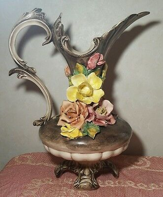 """Stunning Large 17 1/2"""" Capodimonte Pitcher Vase Marked """"n"""" With Crown"""