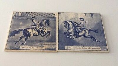 Pair Of Austrian Blue And White Decorative Tiles