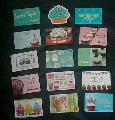 15 Cupcake Themed Gift Cards, Lord & Taylor, Public, Sears, Collectible, Mint