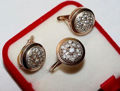 Delicate Amazing  EARRINGS Ring Vintage soviet Set Silver Gold Plated 925!