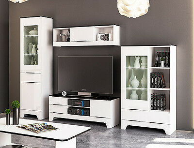 wohnwand anbauwand 5 tlg vitrine lowboard weiss weiss hochglanz neu 832679 eur 289 00. Black Bedroom Furniture Sets. Home Design Ideas