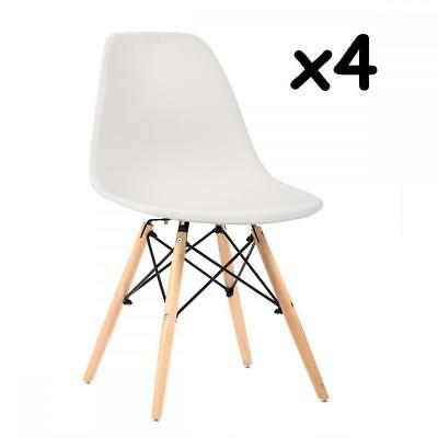 Set of 4 Mid Century Modern Style Plastic Dining Side Chair Wood Legs White 455