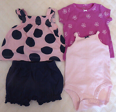 Baby girl 0-3 months pink and navy 4 piece bundle