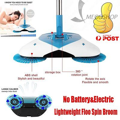 Spin Broom hand-propelled home sweeper Cleaning floor Non electric AU