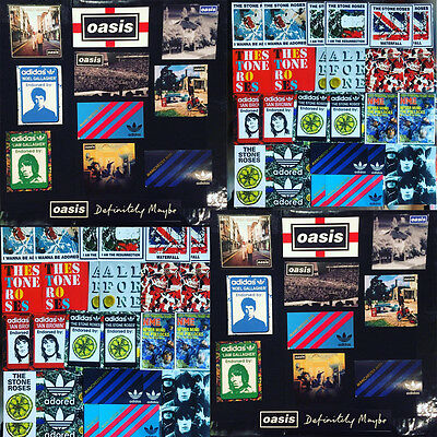 50 x Stone Roses & Oasis Vinyl Stickers - Adidas Manchester City United Shirt