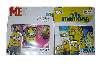 Boys/Girls Underwear Knickers Briefs Pants 3 Pack Boxed Minions