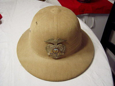 California Police Officer Vintage Obsolete Recruit Badge on Canvas Pith Helmet