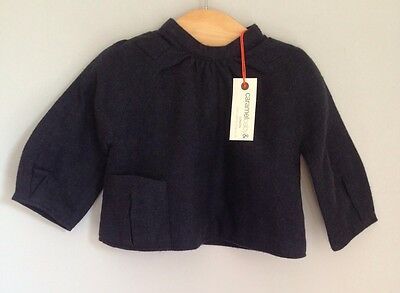 Caramel Baby & Child Navy Blue Thick Flannel Cotton Shirt Top Size 3-6 BNWT