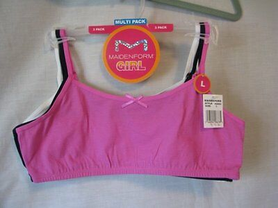 Girls size L  10/12 Maidenform Girl Bra  Package of 3 NIP
