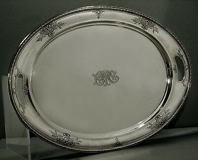 International Sterling Tea Set Tray    c1910    HAND DECORATED         83 OZ.