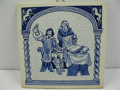 Delft Holland Tile Uroscopy Pharmacist Blue & White Handmade