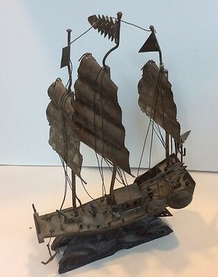 Antique Chinese Export Sterling Silver Chinese War Junk Ship Carved Wood Base !
