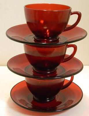 Vintage Set of (3) Ruby Red Glass Tea Cups & Saucers Excellent Condition
