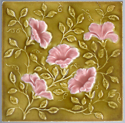 Antique Victorian - c.1890 - Pink Flowers On Green - Embossed Majolica Tile