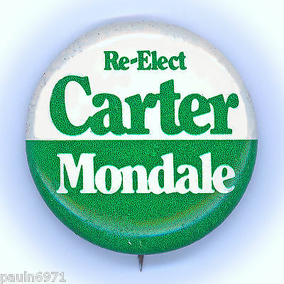 "*  Excellent  ~  "" RE-ELECT  CARTER  -  MONDALE ""  ~  1980 HQ Campaign Button"