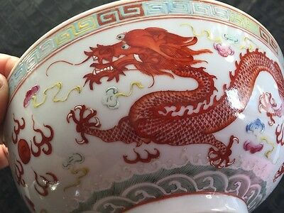 antique vintage 1930's Chinese dragon & bird motif hand painted bowl, signed