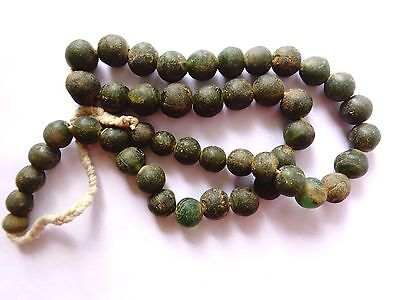 "Ancient Indonesian Trade Glass Beads 600-1000 B.C.  21"" Strand"