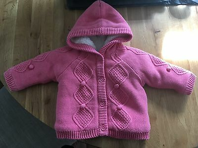 Mothercare pink hooded cardigan 0-3 months