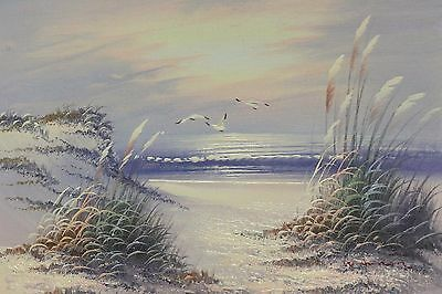 """Sand Dunes And Seagulls"" Oil on Canvas - Painting Signed By W. Amoin 8""-10"""