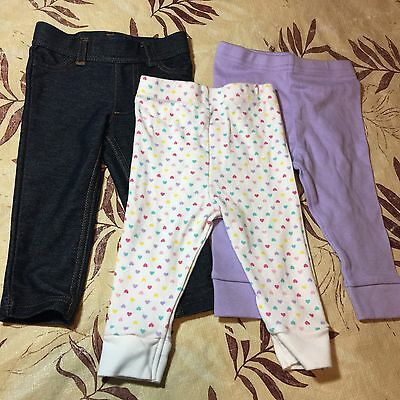 Carters, Granimals Lot Of 3 Pants Baby Girl 3-6 & 6 Months Old Excellent