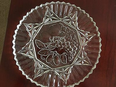 Pioneer Federal Glass Fruit Platter Chop Plate With Sawtooth Edge